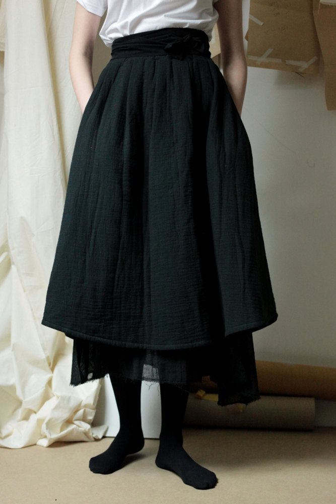 WOMAN_COTTON PADDING SKIRT