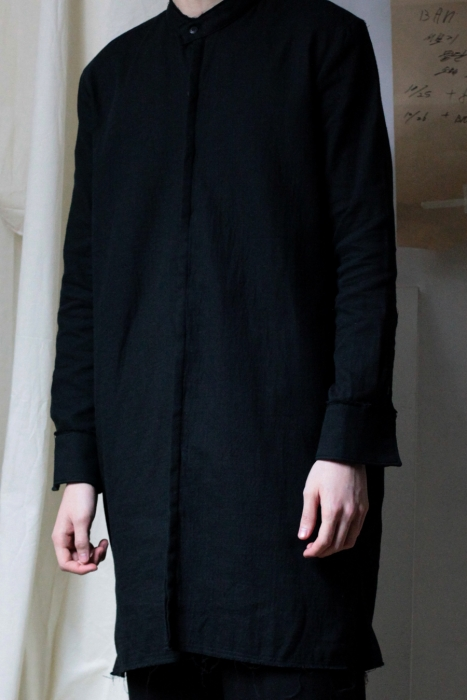 UNISEX_HIDE BUTTON LONG SHIRT