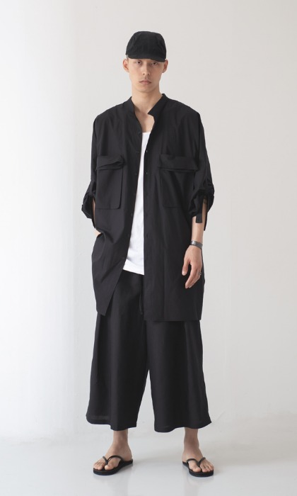 UNISEX_Big Pocket_Long_Shirt_bk