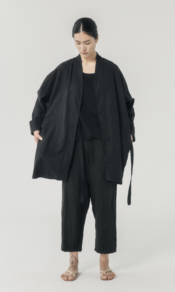 UNISEX_Washed_Linen_cotton_Robe_bk